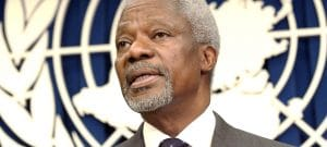 UN Photo/Evan Schneider Kofi Annan was the seventh Secretary-General of the United Nations. In this photo from 2003, he is addressing reporters at Headquarters.
